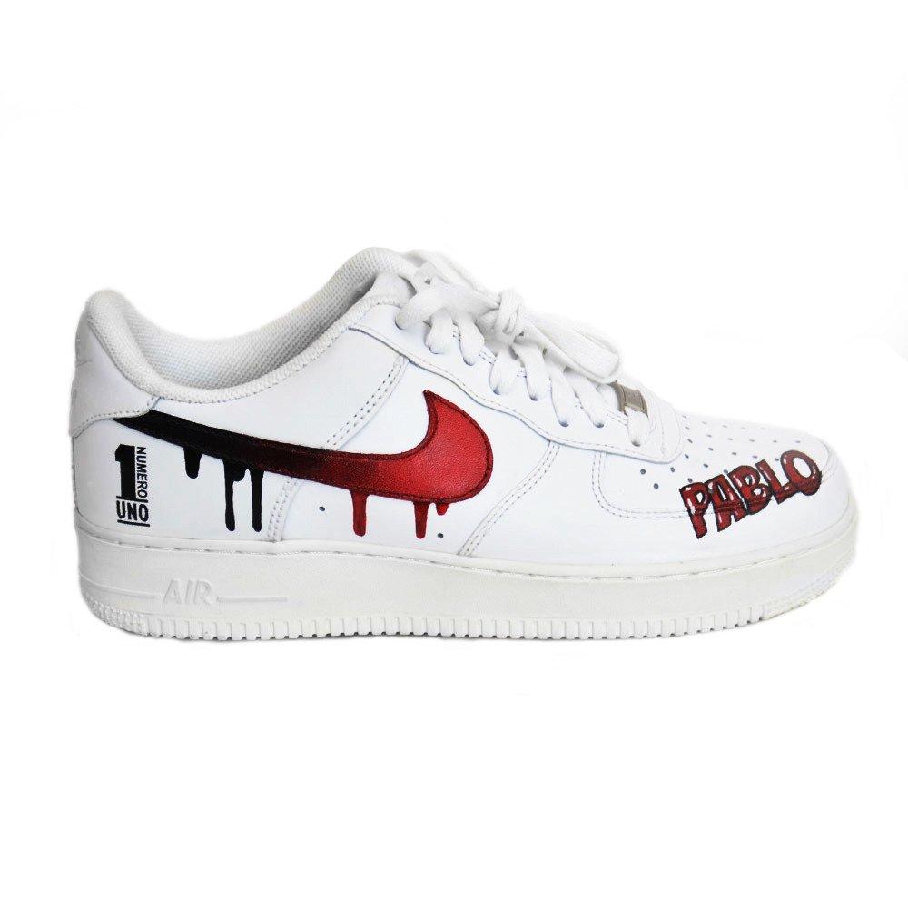 Nike Air Force 1 Low All White Custom Pablo Numero Uno Schuhe 315122 111