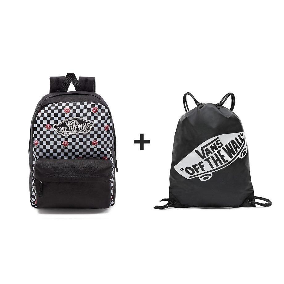 VANS Realm Backpack Rose Checker Rucksack - VN0A3UI6YFK 447 + ...