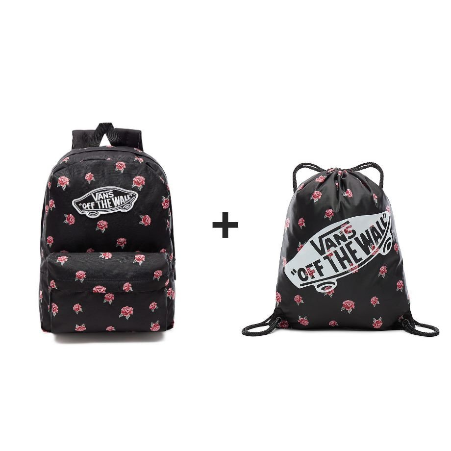 VANS Realm Black & Rose Backpack Rucksack - BLACK VN0A3UI6RDU ...