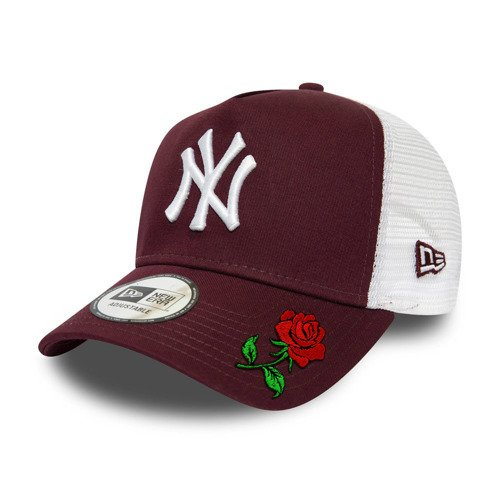 New Era NY Yankees Maroon White Logo A-Frame Trucker Custom Rose - 12285470