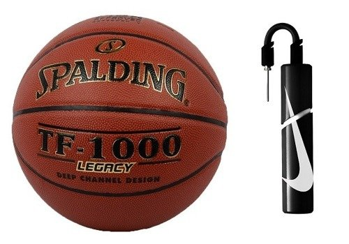 Spalding TF-1000 Legacy Basketball + Nike Essential Dual Action Ball Pump