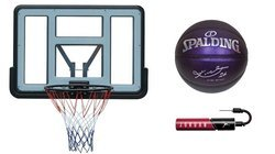 Basketball set Spartan Wall Mounted Backboard + Spalding Ball + Pump
