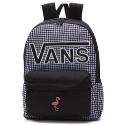 VANS Realm Flying V Backpack - Houndstooth Black/White | VN0A3UI8YER 006 - Custom Flamingo