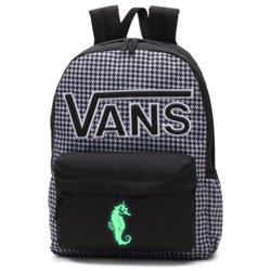 VANS Realm Flying V Backpack - Houndstooth Black/White | VN0A3UI8YER 006 - Custom Seahorse