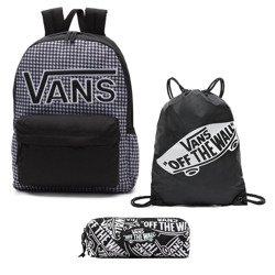 VANS Realm Flying V Backpack - Houndstooth Black/White | VN0A3UI8YER + Bag + Pancil Pouch