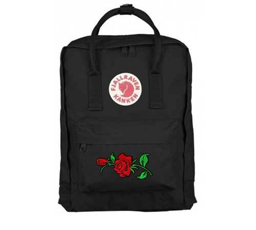 Backpack Fjallraven Kanken Black CLASSIC 16 L Custom Red Rose