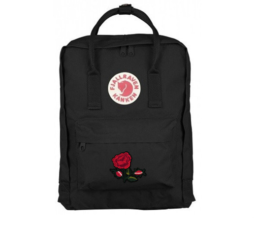 Backpack Fjallraven Kanken Black CLASSIC Custom Red Flowers 16 L